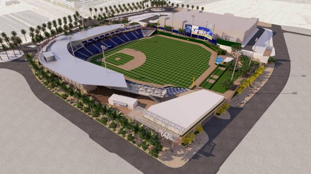 An overview rendering of Las Vegas' new ballpark, coming in 2019