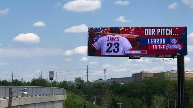 Lehigh Valley IronPigs court Cleveland Cavaliers star LeBron James with a billboard.