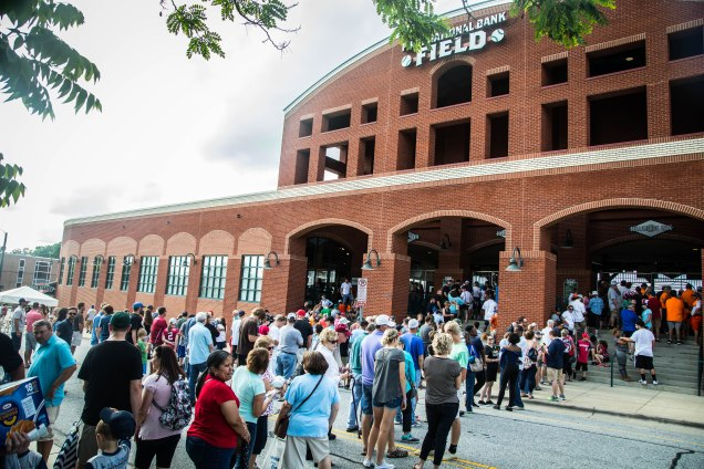 Fans line up for the Greensboro Grasshoppers Royal Couple Promotion
