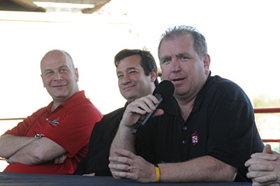 Richmond Flying Squirrels Owner Lou DiBella, President Chuck Domino and Parney