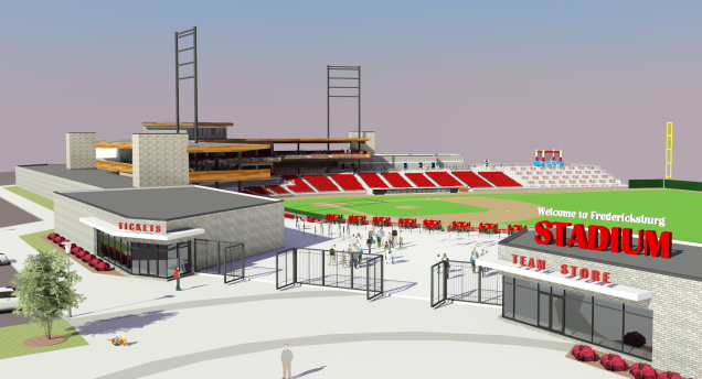 A rendering of a proposed new ballpark for the Potomac Nationals in Fredericksburg, Va.