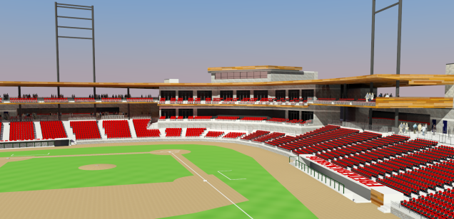 A proposed new ballpark for the Potomac Nationals in Fredericksburg, Va.