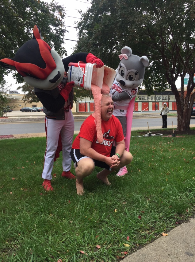 Parney gets slimed for charity with Richmond Flying Squirrels