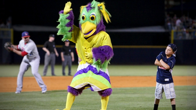 BirdZerk mascot dances at a game.