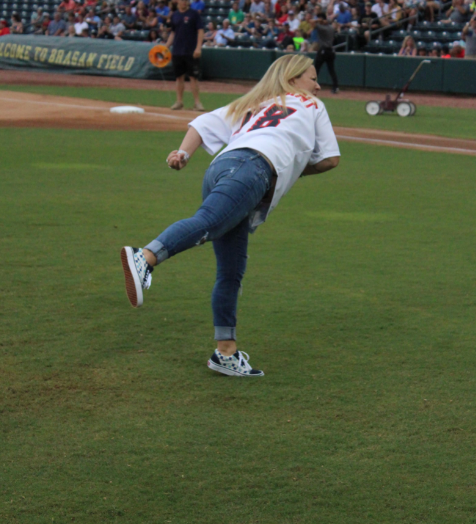 Melody Van Zant throws out the first pitch for Jacksonville Jumbo Shrimp
