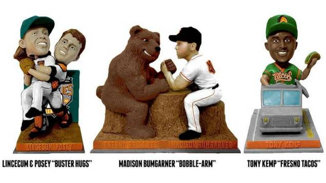 A variety of bobbleheads given away by the Fresno Grizzlies.