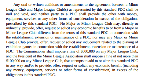 Professional Baseball Agreement rule about player development contracts